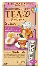 AGF Blendy stick [TEA HEART] White & Yellow Peach 6pc in Box MADE IN JAPAN