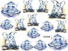 NeW! BLuE DeLfT ViCToRiaN TeaSeTs ShaBby WaTerSLiDe DeCALs