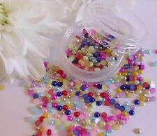 2mm *Mixed Colour Pearls Pot* Round App 500pcs Flat Back Wedding Nail Art Craft