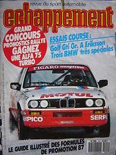 revue ECHAPPEMENT 1987 ALFA 75 V6 3L / 3 BMW 325 CA SPORT / GOLF GTI GR.A