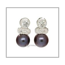 925 Silver Post Earring w/Pearl 7mm Round Peacock 65119