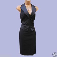 Exquisite KAREN MILLEN Black Wool Tuxedo Halterneck Wiggle Cocktail Dress 10 UK