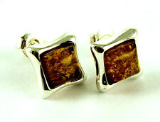 **BEAUTIFUL 925 SOLID SILVER SQUARE CABOCHON COGNAC AMBER STUD EARRINGS**