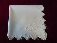 N27 ANCIEN MOUCHOIR POCHETTE BRODERIE PAPILLON 1900 Old EMBROIDERY handkerchief