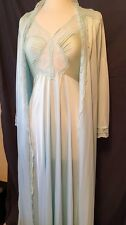 Olga Teal Pale Blue Bodysilk Nightgown 94007 & Robe 92087