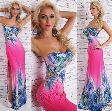 SEXY WOMEN'S PART BANDEAU MAXI DRESS IN MULTICOLOUR/PINK.ONE SIZE; 8/10/12.