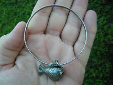 ANTIQUE ORNATE VINTAGE UNUSUAL STERLING SILVER FISH CHARM BRACELET