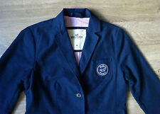 Beautiful Hollister Navy Cotton Womens  Blazer Jacket.3/4 sleeve Size M , VGC !