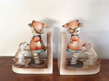 Hummel Goebel Bookends Girl with Begging Dog as found
