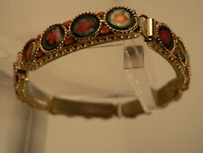 Millifiore ITALY Mosaic 5 Panel gold wash Bracelet 1960s Beautiful!