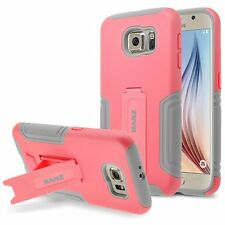 RANZ Samsung Galaxy S6 Coral Pink Hybrid Armor Dual Layer Case with Kick-Stand