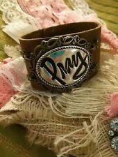 "Plunder Jewelry  Tylie leather cuff 7""-8"" Pray pendant Braclet"