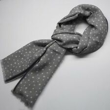 NWT $195 Battisti Napoli Wool Scarf Gray with White Strars Made in Italy