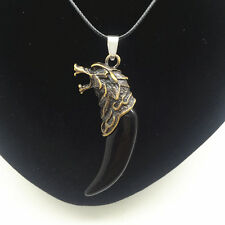 Men'S Fashion Jewelry Black Wolf's fang Pendant Black Leather Necklace Gift #1