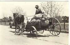 WWII US Large RPPC- Broken Down Loaded Farmer s Wagon- Car- Comic- 62nd ADA RGT