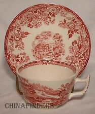 MEAKIN, ALFRED china TONQUIN Pink pattern CUP and SAUCER Set clean crazing