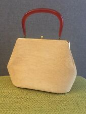 Vintage Beige Straw-Like Purse Handbag with Bakelite Handle