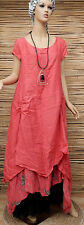 LAGENLOOK LINEN LAYERING BEAUTIFUL BOHO FLORAL PRINT MAXI DRESS*CORAL*BUST 42""