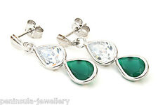 9ct White Gold Green Agate Double Teardrop earrings Gift Boxed Made in UK
