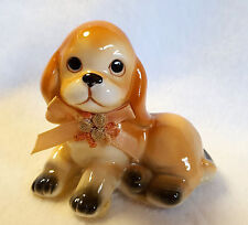 "Vintage Cocker Spaniel Figurine Dog with Peach Colored Bow 2.5"" x 3"""