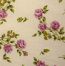 Cream 100% Cotton SML Pink Rose Green Leaf Fabric P/Mtr