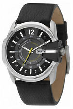 Diesel Analog Black Multilevel Dial Black Leather Date Men Watch DZ1295 New Orig