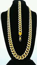 MENS 15mm BLACK   GOLD STAINLESS STEEL MIAMI CUBAN  CHAIN NECKLACE BRACELET SET