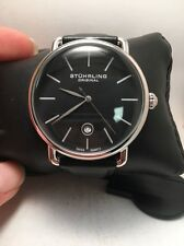 Stuhrling Original 768 02 Swiss Quartz Date Black Leather Strap Mens Watch-HN