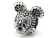 CZ MICKEY MOUSE 925 Sterling Silver Solid European Charm Bead for Bracelet
