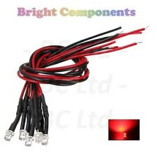 5 x Pre-Wired Red LED 3mm Flat Top : 9V ~ 12V : 1st CLASS POST