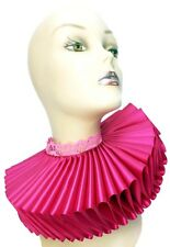 Big Hot Pink Satin Lace Ruffled Collar Edwardian Steampunk Elizabethan Victorian