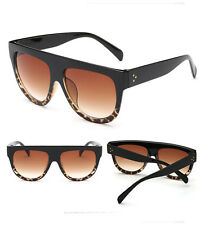 Womens Ladies Oversized Flat Top High Quality Hand Polished UV400 Sunglasses
