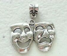 "DRAMA MASK SILVER CHARM-EUROPEAN BAIL-3/4""H X 1 1/4""W-UNBRANDED-ART-THEATER"