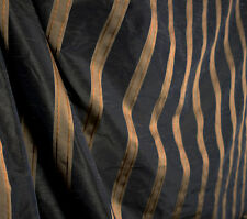 Black Brown & Gold Striped Polyester Curtain Fabric Swavelle Icarus Jet