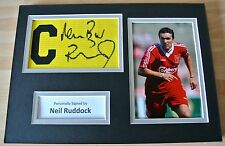 Neil Ruddock Signed Captains Armband A4 Photo Display Liverpool & PROOF & COA