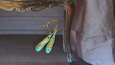 Les nereides vert menthe ballerine ballet pointe shoes plaqué or boucles d'oreilles