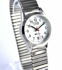 Ravel Ladies Easy To Read Day Date Watch Silvertone Expander Stretch Metal Strap