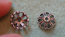 2 sterling silver bead caps 925 stamped flower spacer UK finding 8 mm antique