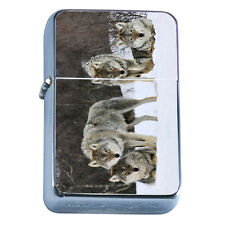 Windproof Refillable Flip Top Oil Lighter Wolf D2 Wilderness Animal Dog Hunter
