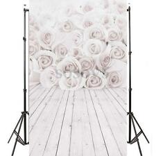 5x7ft Vinyl Backgrounds Valentine's Day White Rose Flower Photography Backdrops