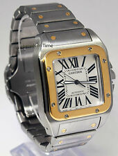 Cartier Santos 100 XL 18k Yellow Gold/Steel Automatic Mens Watch Box/Paper 2656