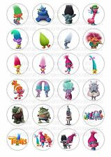 24 Trolls Troll Face Iced Icing / Frosting Cupcake Topper Edible Fairy Cake Bun
