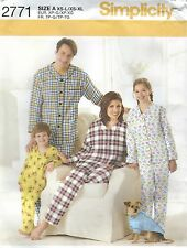 "Simplicity 2771 Unisex Top & Pants & Top for Dog-Child 4 to 16/Adult 23"" to 48"""