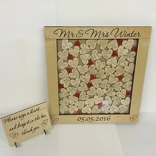 Personalised birch plywood red drop box wedding guest book 76 hearts gift