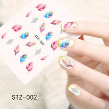 1 Sheet Nail Art Water Transfer Decal Colorful Feather Theme Manicure Sticker
