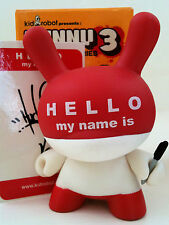 """DUNNY 3"""" SERIES HUCK GEE RED HMNI HELLO MY NAME IS 2/25 KIDROBOT 2006 VINYL TOY"""