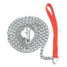 Heavy Duty Metal Chain Dog Puppy Walking Lead Leash Clip With Red Nylon Handle