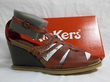 Kickers Size 9.5 M U Find Dark Red Leather Wedges New Womens Shoes