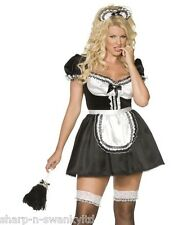 Ladies Sexy French Maid Rocky Horror Plus Size Fancy Dress Costume Outfit 20-22