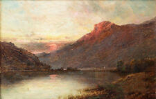 Oil painting Splendor of the sun Behind the mountains - rare landscape canvas